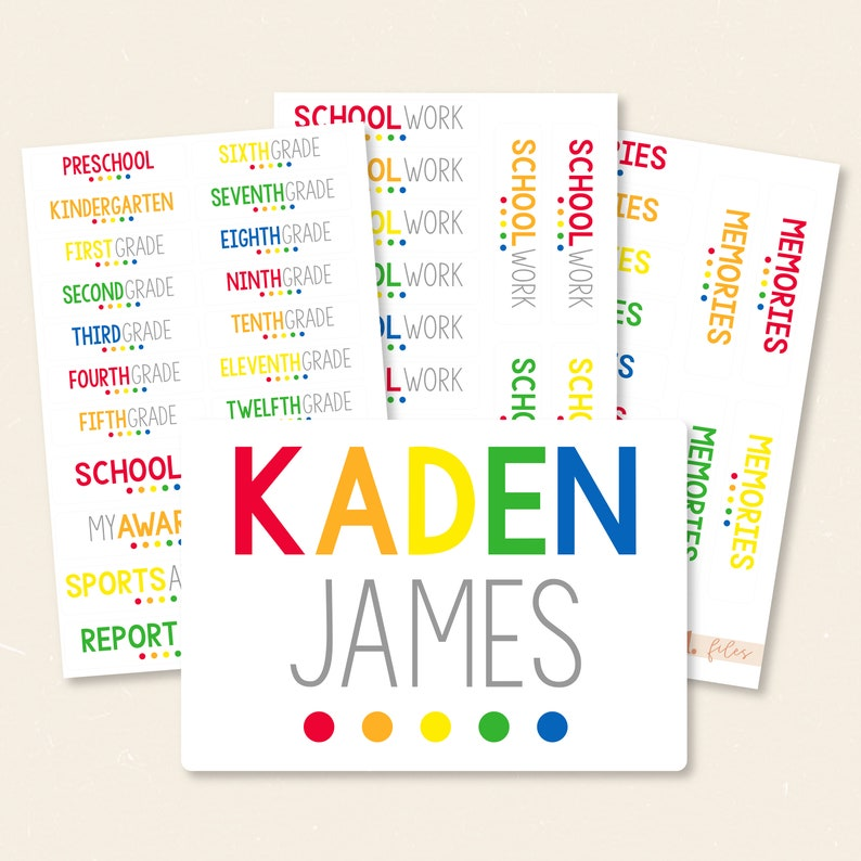 Colorful School Work Filing System Organization Labels & Water image 0