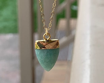 Amazonite necklace, amazonite pendant, healing stone, gem jewelry, boho jewelry, statement necklace, green stone necklace