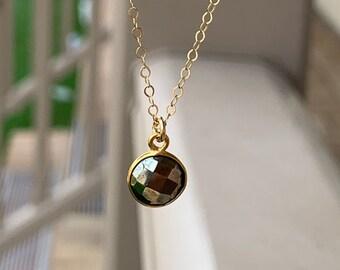 Pyrite bezel pendant necklace, pyrite jewelry, boho jewelry, healing jewelry, layering necklace, dainty jewelry, delicate necklace