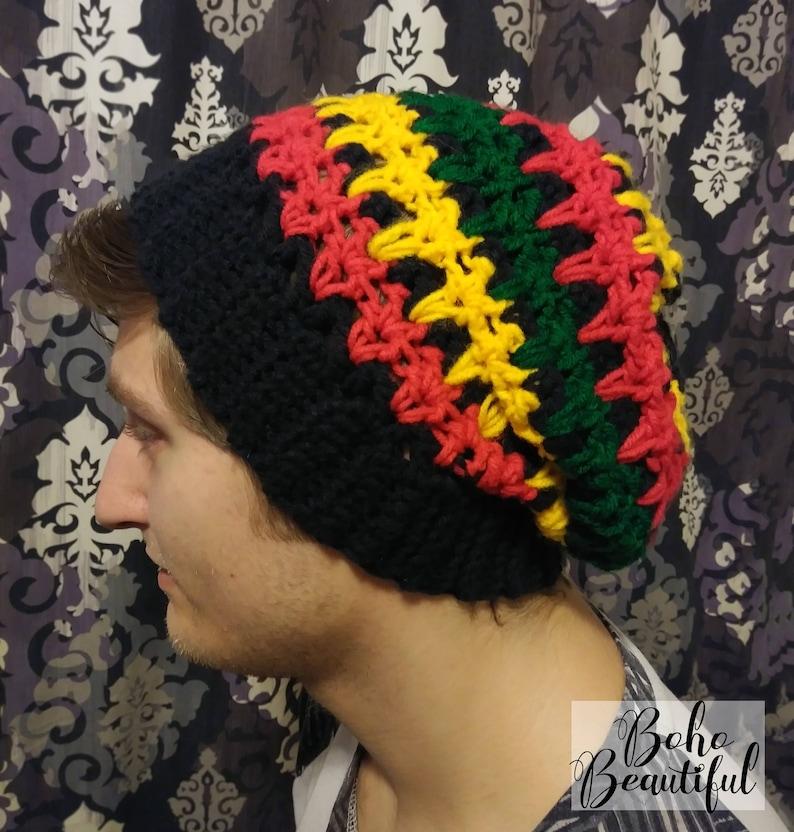 Rasta Slouchy Hat Crochet Pattern Dreadlock Hat Rasta Etsy