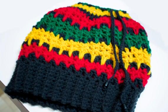 Rasta Dread Tube Hat Crochet Pattern Dreadlock Hat Rasta Tam Adjustable Rasta Crochet Hat Slouchy Rasta Bob Marley Hat PDF Mesmerizing Rasta Hat Crochet Pattern
