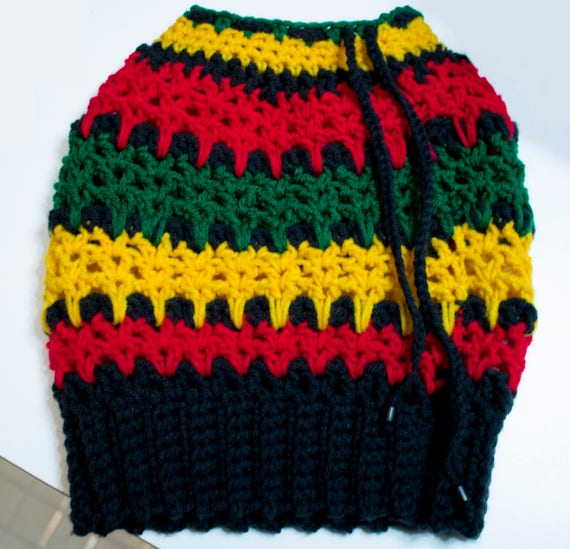6a668aec0a4 Rasta Dread Tube Hat Crochet Pattern Dreadlock Hat Rasta Etsy