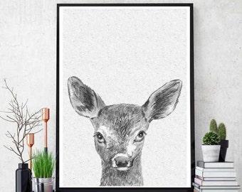 Deer Print, Printable Kids Gift, Fawn Baby Deer, Printable Kids Wall Art Woodlands Decor, Nursery Printable, Printable Art, Instant Download