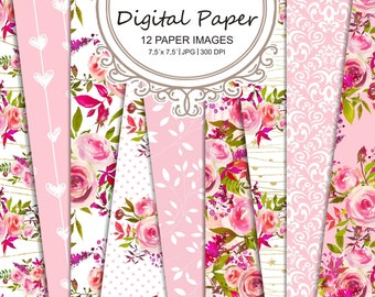Shabby chic rose Digital paper-Watercolor scrapbooking-Paper pack Roses Watercolor-Gold romantic bloom-planner #45
