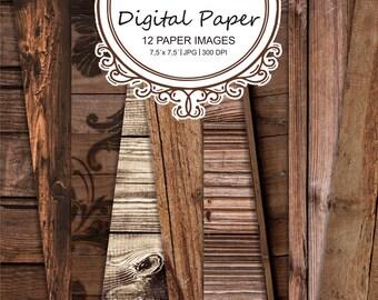 """Old wood Digital paper """"Vintage wood Digital paper"""" pack-wood printable background-rustic wood-scrapbook paper #42"""