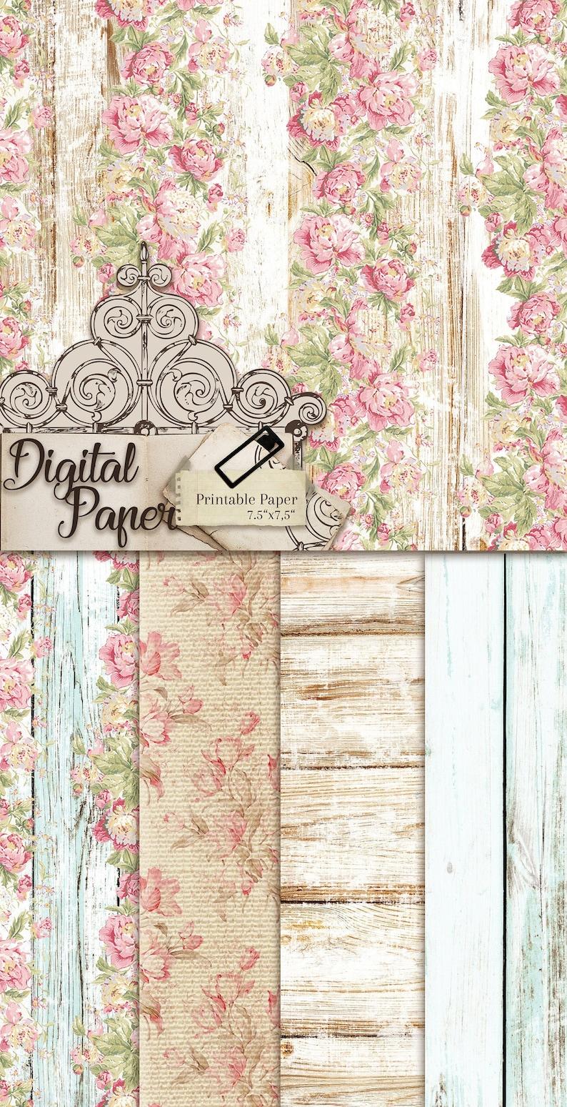 scrapbook shabby chic roses digital paper pack image 0