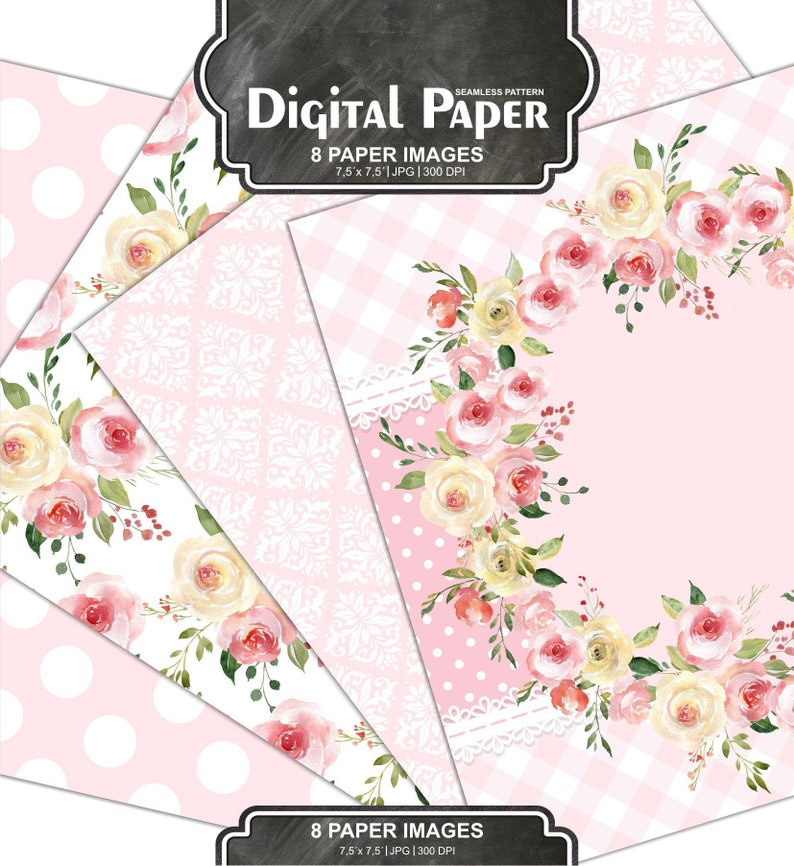 Rosa Carta Digitale Pacco Shabby Chic Papers Sfondo Etsy