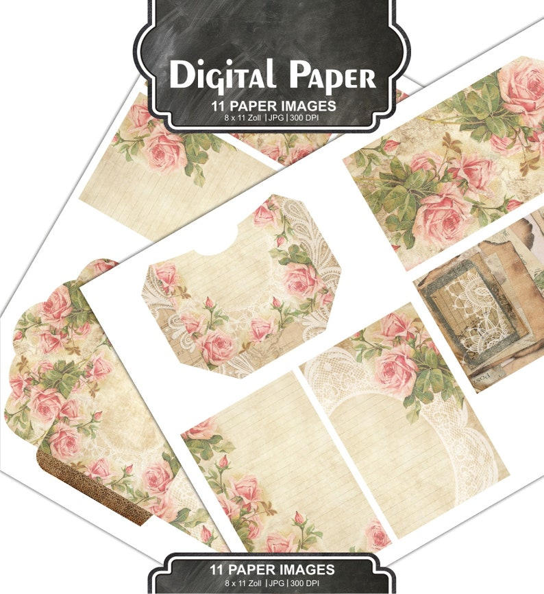 Printable Journal Kit Calendar Vintage Floral Shabby chic papers DIY Journal Pack #131 scrapbooking 8 x 11 inches Rose Papers