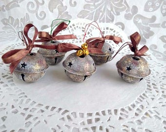 big sleigh bells ooak 157 bow vintage rusty round christmas bells cooper gold brown large jingle bells believe magical sleigh bells - Large Christmas Bells Decorations