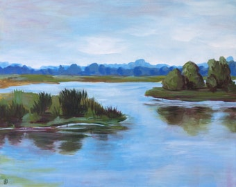 The Marsh - Original Acrylic Painting, Lowcountry Landscape, Deep Canvas, 30x24, Original Art, South Carolina Art, River, Marsh, Waterscape