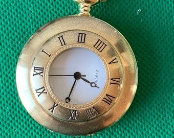 bfecc9b30 Quartz half hunter Style Gold Tone pocket watch working order .