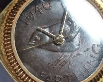 9a279e82120b Peers Hardy Commemorative Genuine Vintage Year Penny Farthing Coin Watch