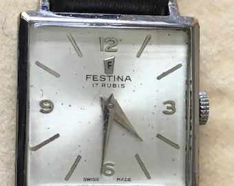 Rare Vintage  Festina ART DECO style WATCH 17 Rubis in Festina box on new strap