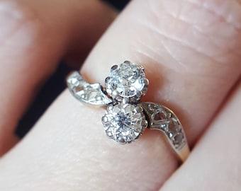 Edwardian Diamond Engagement Ring Antique Engagement Ring Edwardian Engagement Ring Antique Ring Diamond Ring Edwardian Ring Toi Et Moi Ring