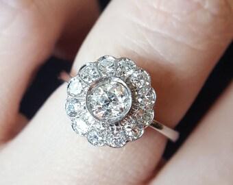 Vintage 1930s Art Deco Diamond Engagement Ring, Vintage Engagement Ring, Art Deco Engagement Ring, Old European Cut Diamond Engagement Ring