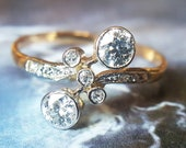 Antique Old European Cut Diamond Engagement Ring Moi et Toi Engagement Ring Antique Ring Diamond Ring - 1910s, 14K Yellow Gold, Size 7.75