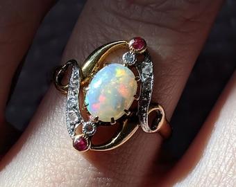 Antique Engagement Ring - Antique Art Nouveau 18K Rose Gold & Platinum Opal Engagement Ring