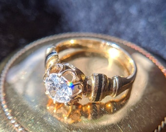 c. 1800s Antique Engagement Ring, Antique Diamond Engagement Ring, Victorian 18K Yellow Gold .85 Carat Old Mine Cut Diamond Engagement Ring
