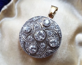 Vintage 1910s Edwardian Diamond Pendant Art Deco Diamond Pendant Antique Old European Cut Diamond Pendant Edwardian Pendant Art Deco Pendant