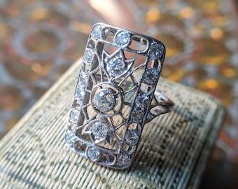 Antique Diamond Ring, Vintage Diamond Ring, Edwardian Diamond Ring, Diamond Shield Ring, Diamond Dinner Ring, 1910s Ring, Platinum Ring
