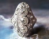 Edwardian Old European Cut Diamond Engagement Ring Antique Engagement Ring Diamond Ring Antique Ring Edwardian Ring 1910s Platinum Size 6.75