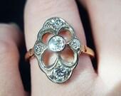 Antique Engagement Ring Antique Edwardian Engagement Ring 1910s Antique Ring Antique Edwardian Ring Size 7.25 Women 39 s 14K Rose Gold Ring