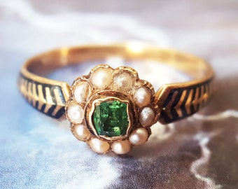Antique Engagement Ring | Victorian Engagement Ring | Emerald Engagement Ring: Antique Emerald Ring in 18K Gold and Enamel with Pearls