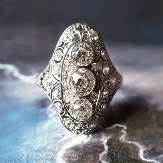 Antique Diamond Ring Vintage Diamond Ring Edwardian Diamond Etsy