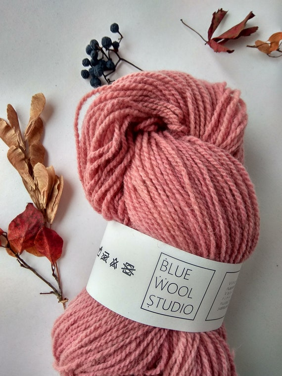 Organic yarn Natural plant dyed  hand dyed wool yarn in pink FINGERING sock baby yarn weight Suitable for knitting tablet weaving.
