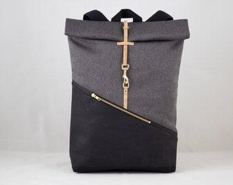 3e8ad1224 Mochila enrollable grande con compartimento para portátil corcho mochila  negro lona de color gris oscuro repelente al agua vegano