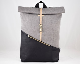 Cork Rolltop backpack with laptop compartment black canvas light grey