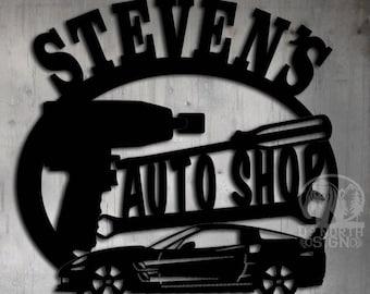 Corvette Auto Shop - Personalized Metal Sign - Metal Wall Art