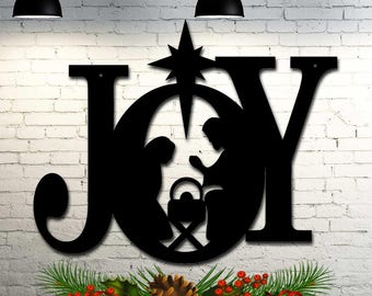 joy nativity christmas decoration indoor outdoor 23 inches wide x 185 inches high sign cut from steel metal - Metal Christmas Decorations Outdoor