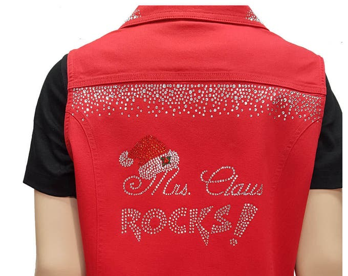 Red denim bling vest with Mrs Claus Rocks crystal embellishment.