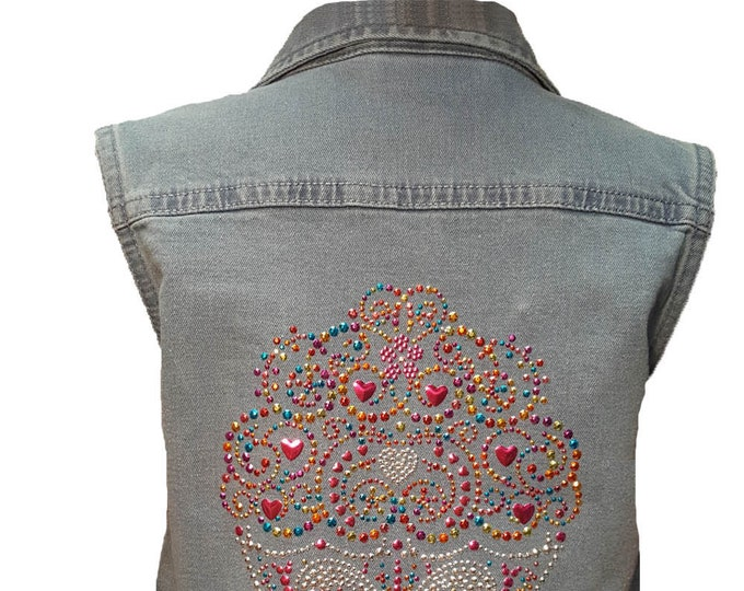 Girl's Bling Denim Vest with Rhinestone Buttons and Pockets