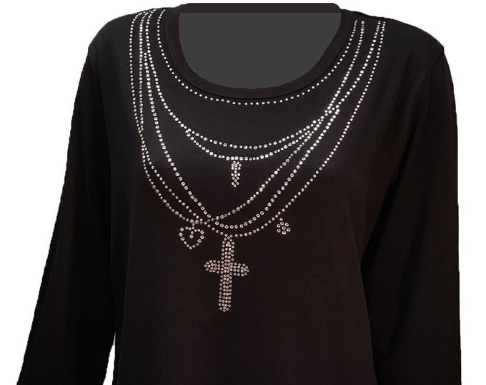 Sale Chains and Charms Bling Shirt Rhinestone Embellished with Scoop Neckline. Comfortable and light weight. 1X
