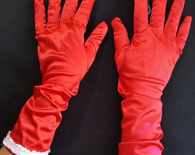 Red Stretch Satin Opera Gloves with White Stretch Ruffle Trim. Long cuffs for Ruched or Straight Look. S-Lg