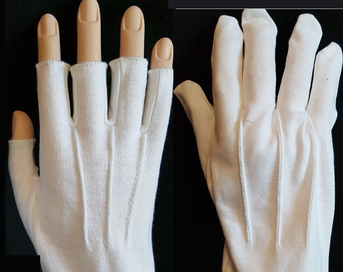 White Cotton Gloves Fingers or Half-fingers for Santa, Mrs Claus or Uniforms.