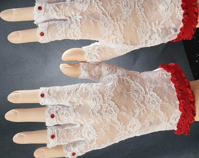Storyteller White Half Finger Stretch Lace Gloves with Red Austrian Crystals and Red Satin Ruffle. Gloves-one size.
