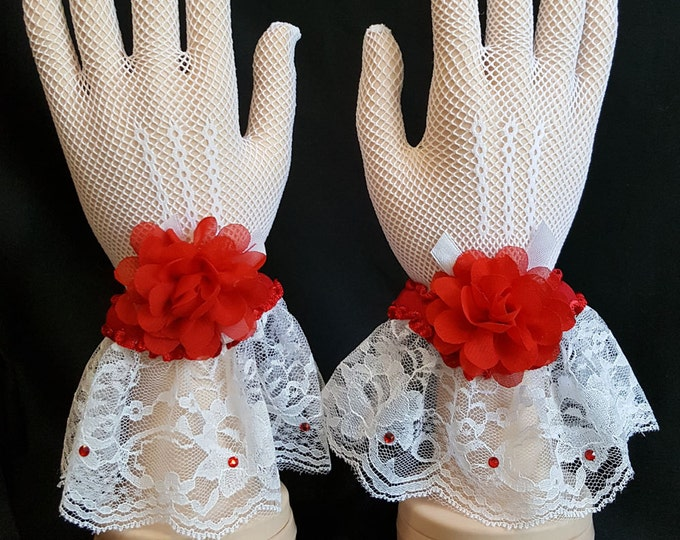 White mesh with lace glove plus red ruffle trim, rhinestones and sheer flowers