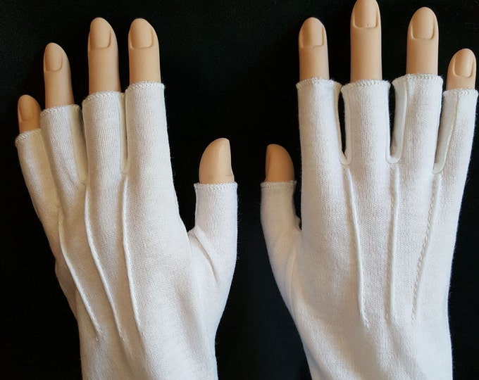 White Cotton Gloves Half-fingers for Santa, Mrs Claus or Uniforms.