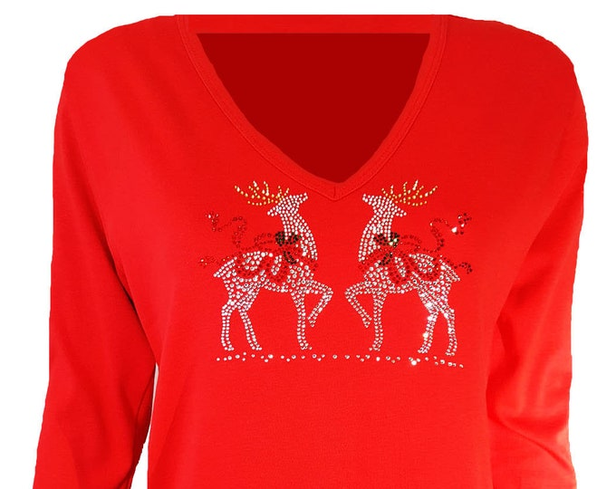 Christmas Reindeer Bling Shirt with Rhinestone Embellishment. Red Combed Cotton Poly Blend.