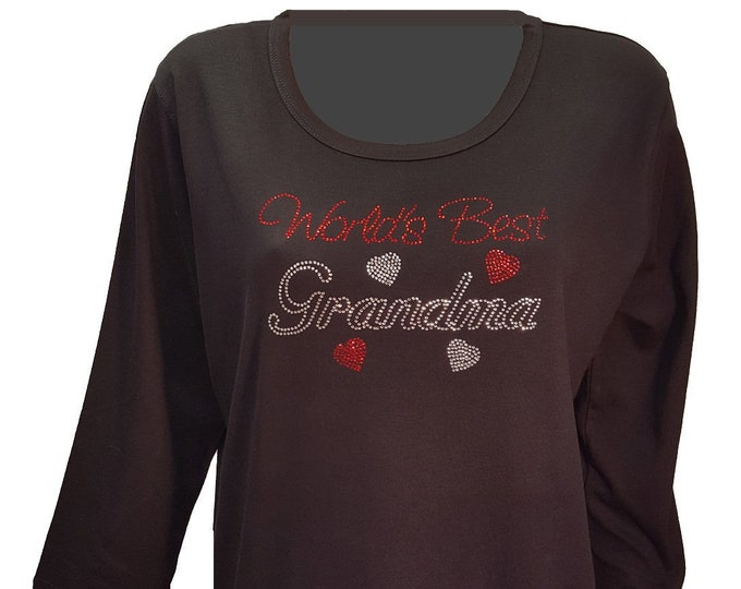 World's Best Grandma Bling Shirt with Rhinestone Embellishment. Combed cotton poly blend.