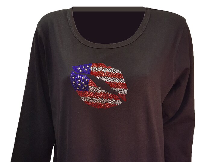 Star Spangled Lips Bling Shirt with Rhinestone Embellishment. Soft flexible light weight design. Combed cotton poly blend.