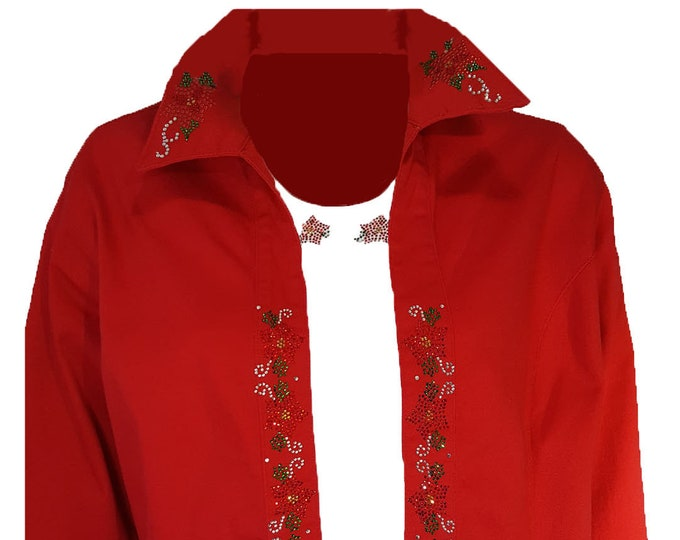 Christmas Red Duster Poinsettia Smock