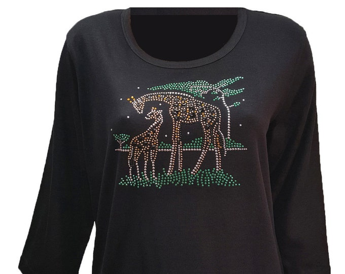 Giraffe Family Bling Shirt with Rhinestone Embellishment. Soft flexible light weight design. Combed cotton poly blend.
