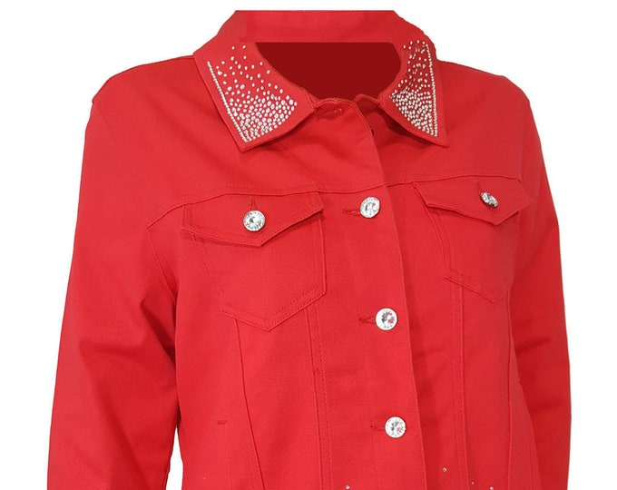 Bling stretch straight bottom denim jacket red with long sleeves, pockets, and rhinestone embellishment 3X