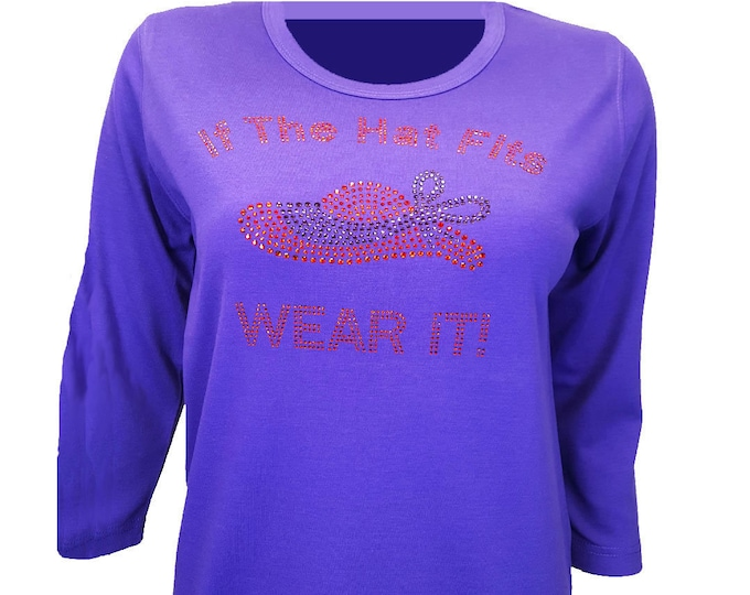 Red Hat Society If the hat fits fashion t-shirt with rhinestone design. Stunning design on purple cotton poly 3/4 sleeve shirt.