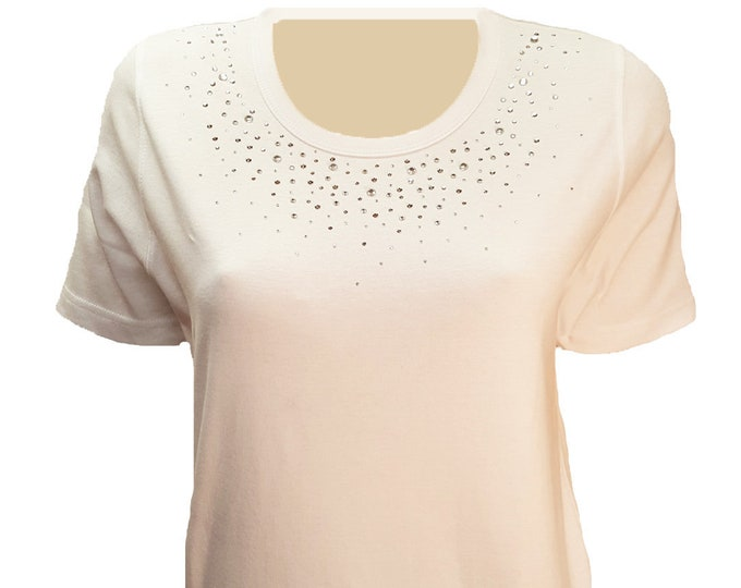 Rhinestone Neckline Bling White Scoop Neck Shirt. Combed Cotton Poly Blend.