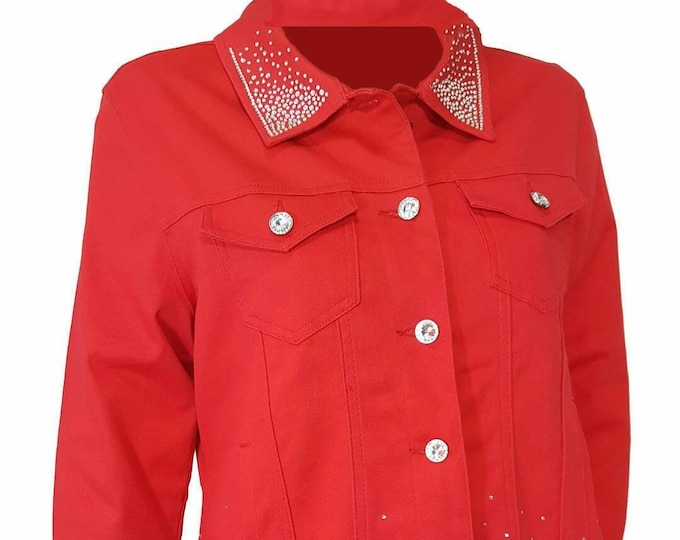 Bling stretch denim jacket red with long sleeves, pockets, and rhinestone embellishment.